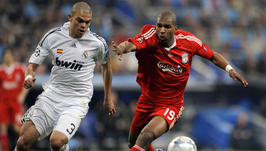 Real Madrid's Brazilian defender Pepe (L