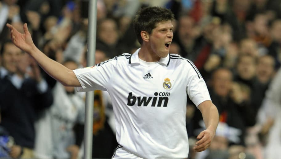 Real Madrid's Dutch forward Klaas Jan Huntelaar celebrates after scoring his second goal during the Spanish league  football match against Betis Sevilla at the Santiago Bernabeu stadium in Madrid , on February 21, 2009.  AFP PHOTO/PHILIPPE DESMAZES (Photo credit should read PHILIPPE DESMAZES/AFP/Getty Images)