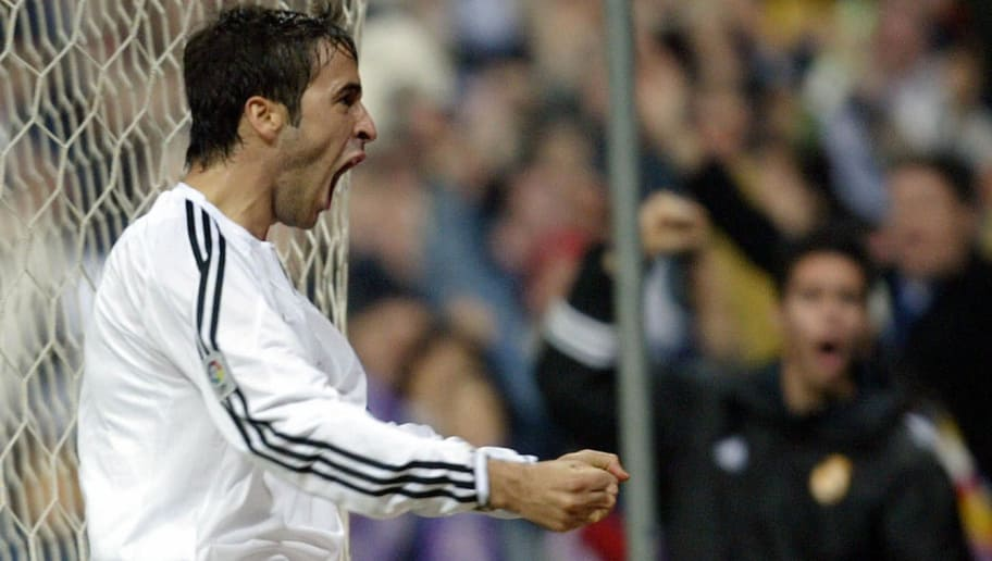 Real Madrid's Raul Gonzalez celebrates a