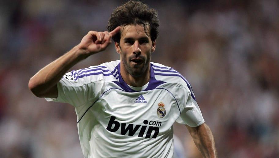 Real Madrid's Ruud Van Nistelrooy celebr