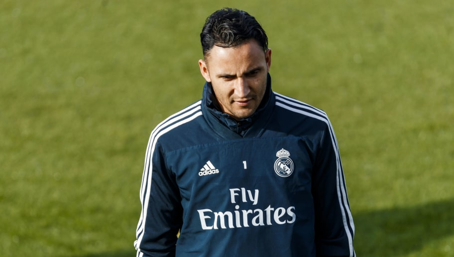 MADRID, SPAIN - DECEMBER 08: Keylor Navas of Real Madrid  looks on during the Real Madrid training session on December 8, 2018 in Madrid, Spain. (Photo by TF-Images/Getty Images)