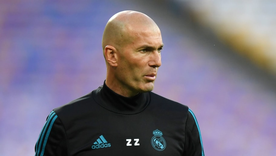 KIEV, UKRAINE - MAY 25:  Zinedine Zidane, Manager of Real Madrid looks on during a Real Madrid training session ahead of the UEFA Champions League Final against Liverpool at NSC Olimpiyskiy Stadium on May 25, 2018 in Kiev, Ukraine.  (Photo by Shaun Botterill/Getty Images)