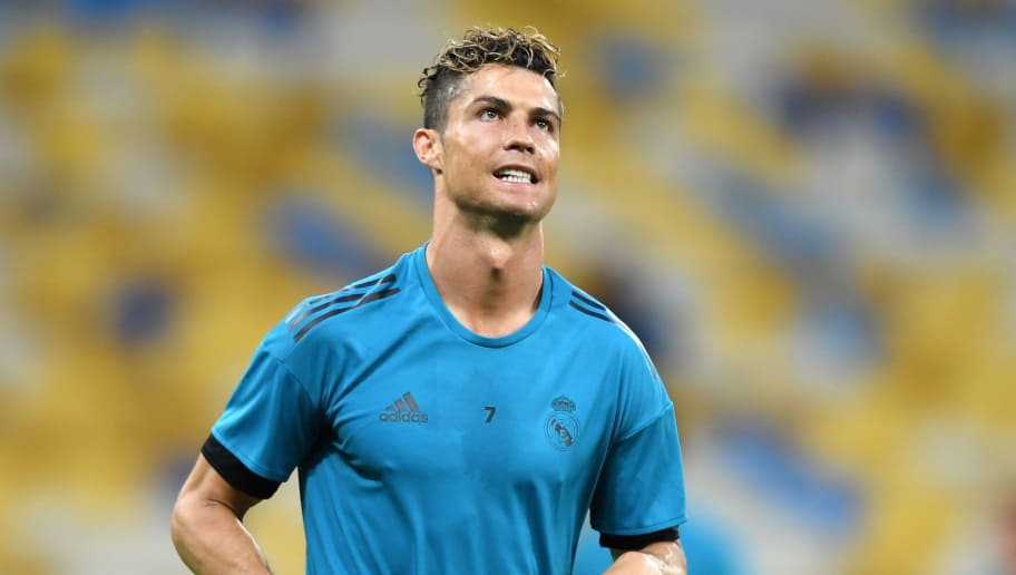 KIEV, UKRAINE - MAY 25:  Cristiano Ronaldo of Real Madrid looks on during a Real Madrid training session ahead of the UEFA Champions League Final against Liverpool at NSC Olimpiyskiy Stadium on May 25, 2018 in Kiev, Ukraine.  (Photo by Shaun Botterill/Getty Images)