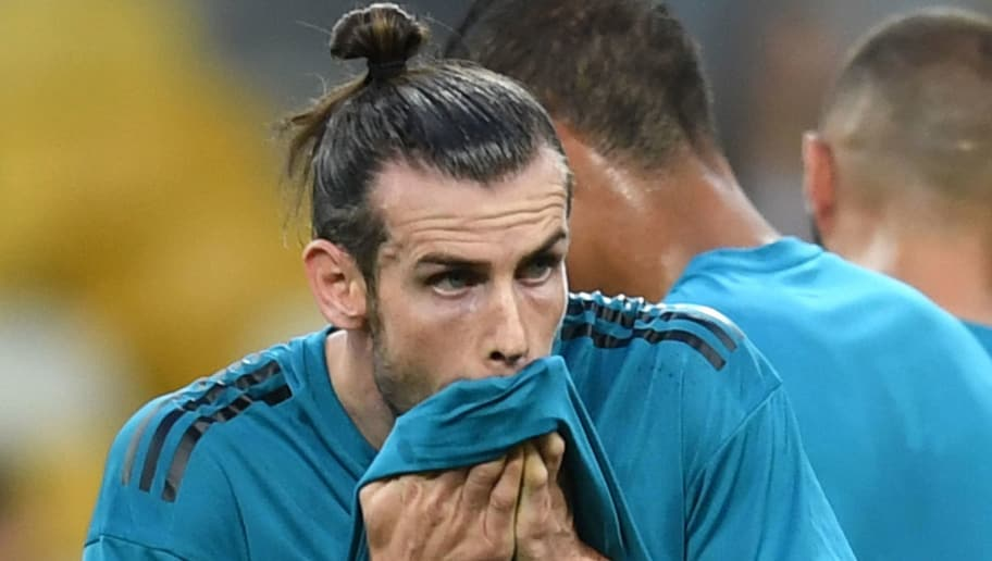KIEV, UKRAINE - MAY 25:  Gareth Bale of Real Madrid reacts during a Real Madrid training session ahead of the UEFA Champions League Final against Liverpool at NSC Olimpiyskiy Stadium on May 25, 2018 in Kiev, Ukraine.  (Photo by Michael Regan/Getty Images)