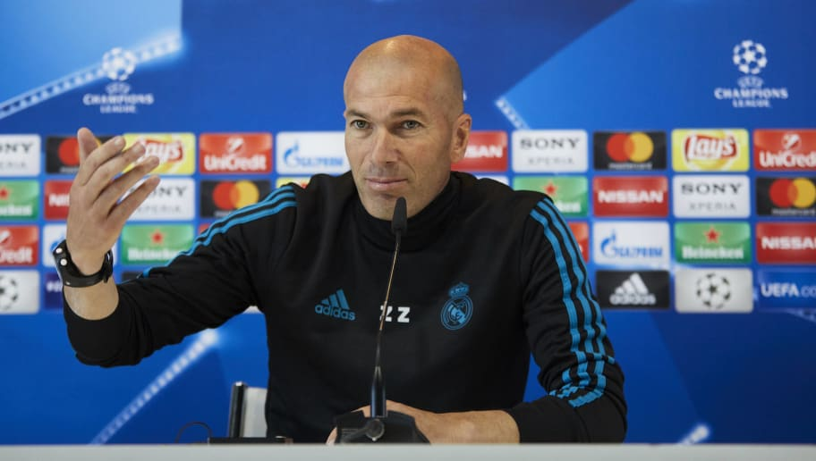 MADRID, SPAIN - MAY 22: Head coach Zinedine Zidane of Real Madrid CF attends a press conference during the Real Madrid UEFA Open Media Day ahead of the UEFA Champions League Final match between Real Madrid and Liverpool at Valdebebas training ground on May 22, 2018 in Madrid, Spain. (Photo by Gonzalo Arroyo Moreno/Getty Images)