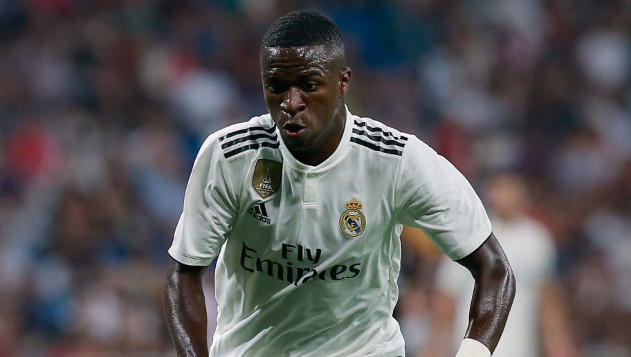 MADRID, SPAIN - AUGUST 11: Vinicius Junior of Real Madrid CF controls the ball during the Santiago Bernabeu Trophy between Real Madrid CF and AC Milan at Estadio Santiago Bernabeu on August 11, 2018 in Madrid, Spain. (Photo by Gonzalo Arroyo Moreno/Getty Images)