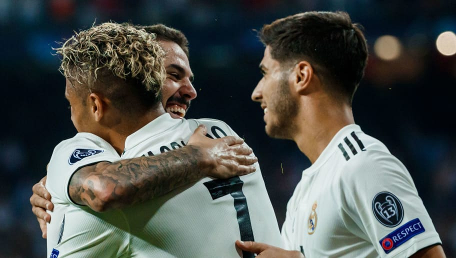 MADRID, SPAIN - SEPTEMBER 19: Mariano Diaz of Real Madrid celebrates after scoring his team`s third goal during the UEFA Champions League Group G match between Real Madrid and AS Roma at Bernabeu on September 19, 2018 in Madrid, Spain. (Photo by TF-Images/Getty Images)