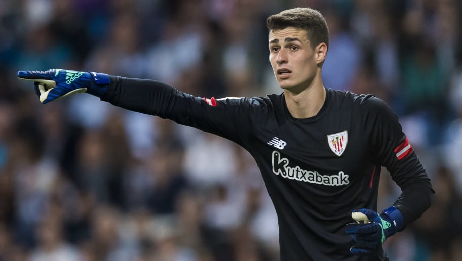 MADRID, SPAIN - APRIL 18: Goalkeeper Kepa Arrizabalaga Revuelta of Athletic Club de Bilbao reacts during the La Liga match between Real Madrid and Athletic Club at Estadio Santiago Bernabeu on April 18, 2018 in Madrid, Spain. (Photo by Power Sport Images/Getty Images)