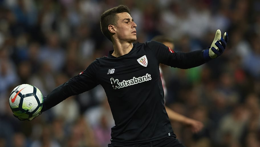 MADRID, SPAIN - APRIL 18:  Kepa Arrizabalaga of Athletic Club in action during the La Liga match between Real Madrid and Athletic Club at Estadio Santiago Bernabeu on April 18, 2018 in Madrid, Spain.  (Photo by Quality Sport Images/Getty Images)