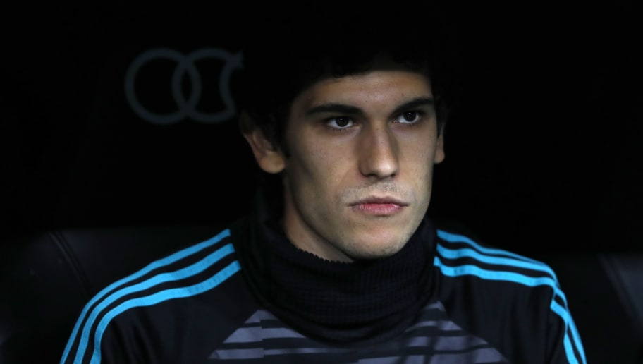 MADRID, SPAIN - APRIL 18: Jesus Vallejo of Real Madrid looks on prior to the La Liga match between Real Madrid and Athletic Club at Estadio Santiago Bernabeu on April 18, 2018 in Madrid, Spain. (Photo by TF-Images/Getty Images)