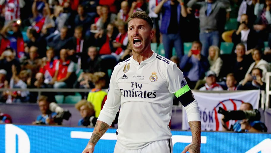 TALLINN, ESTONIA - AUGUST 15:  Sergio Ramos of Real Madrid celebrates after scoring his sides second goal during the UEFA Super Cup between Real Madrid and Atletico Madrid at Lillekula Stadium on August 15, 2018 in Tallinn, Estonia.  (Photo by Chris Brunskill/Fantasista/Getty Images)