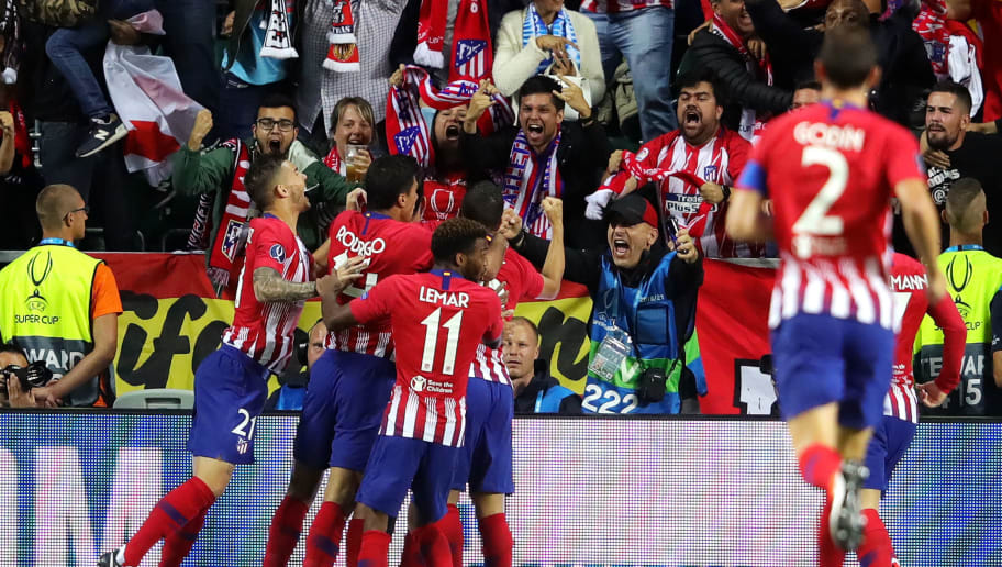 TALLINN, ESTONIA - AUGUST 15:  Diego Costa of Atletico Madrid celebrates after scoring his sides first goal during the UEFA Super Cup between Real Madrid and Atletico Madrid at Lillekula Stadium on August 15, 2018 in Tallinn, Estonia.  (Photo by Alexander Hassenstein/Getty Images)