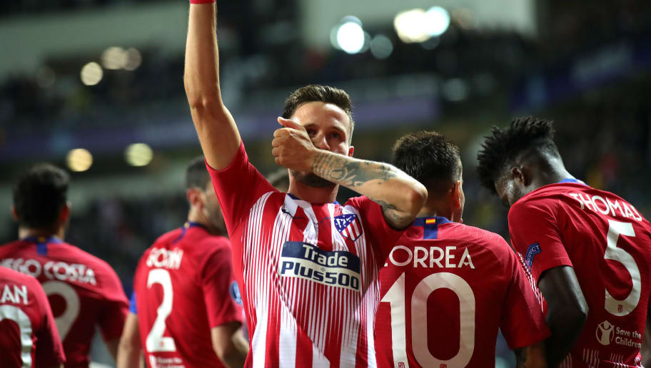 TALLINN, ESTONIA - AUGUST 15:  Saul Niguez of Atletico Madrid celebrates after scoring his sides third goal during the UEFA Super Cup between Real Madrid and Atletico Madrid at Lillekula Stadium on August 15, 2018 in Tallinn, Estonia.  (Photo by Alexander Hassenstein/Getty Images)