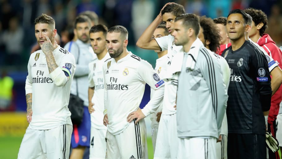 TALLINN, ESTONIA - AUGUST 15:  Sergio Ramos (L) of Real reacts with his team mates after the UEFA Super Cup between Real Madrid and Atletico Madrid at Lillekula Stadium on August 15, 2018 in Tallinn, Estonia.  (Photo by Alexander Hassenstein/Getty Images)