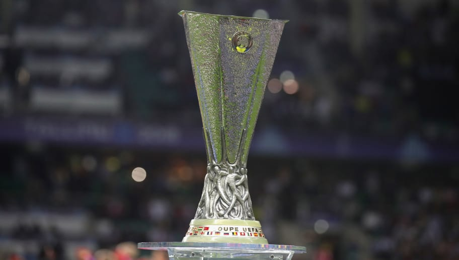 TALLINN, ESTONIA - AUGUST 15:  The Europa League Winners Trophy is displayed prior to the UEFA Super Cup between Real Madrid and Atletico Madrid at Lillekula Stadium on August 15, 2018 in Tallinn, Estonia.  (Photo by Alexander Hassenstein/Getty Images)