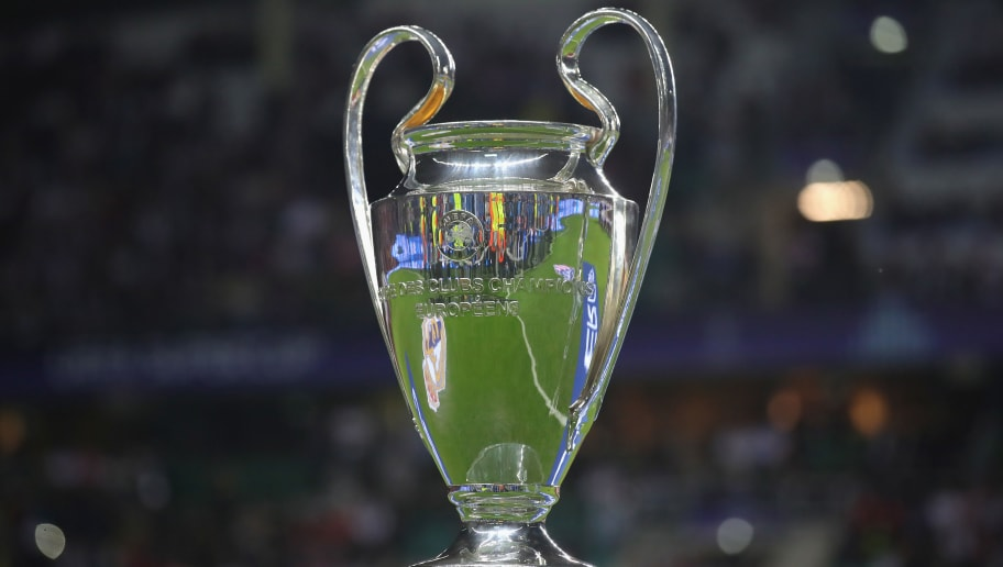 TALLINN, ESTONIA - AUGUST 15:  The Champions League Winners Trophy is displayed prior to the UEFA Super Cup between Real Madrid and Atletico Madrid at Lillekula Stadium on August 15, 2018 in Tallinn, Estonia.  (Photo by Alexander Hassenstein/Getty Images)