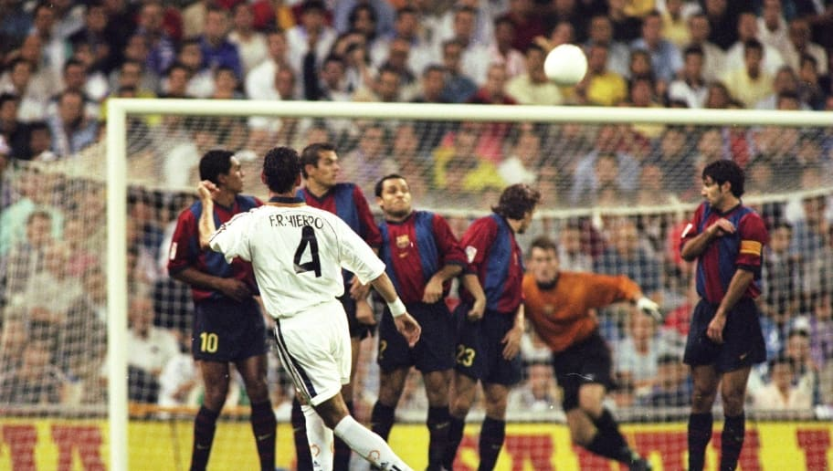 Real Madrid v Barcelona Fernando Hierro of Real Madrid takes a penalty shot
