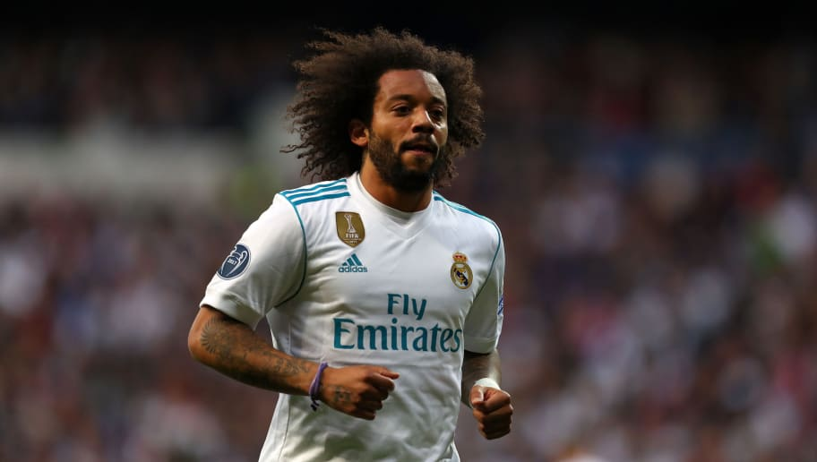 MADRID, SPAIN - MAY 01: Marcelo of Real Madrid during the UEFA Champions League Semi Final Second Leg match between Real Madrid and Bayern Muenchen at the Bernabeu on May 1, 2018 in Madrid, Spain. (Photo by Catherine Ivill/Getty Images)