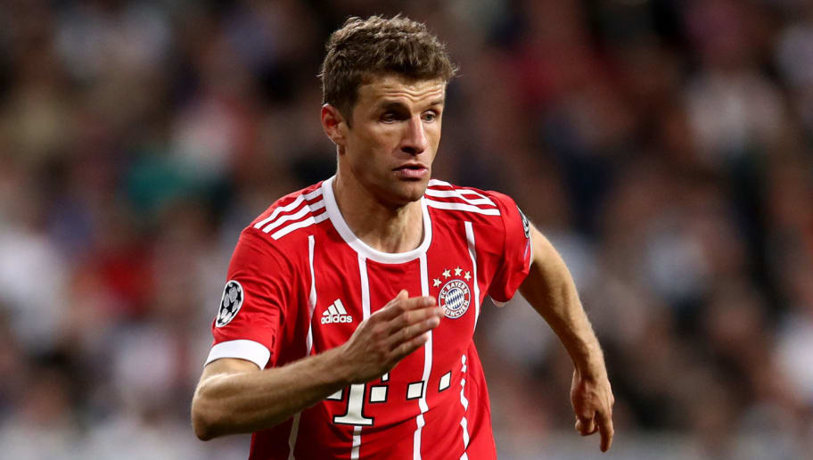 MADRID, SPAIN - MAY 01:  Thomas Mueller of Bayern Muenchen runs with the ball during the UEFA Champions League Semi Final Second Leg match between Real Madrid and Bayern Muenchen at the Bernabeu on May 1, 2018 in Madrid, Spain.  (Photo by Lars Baron/Bongarts/Getty Images)