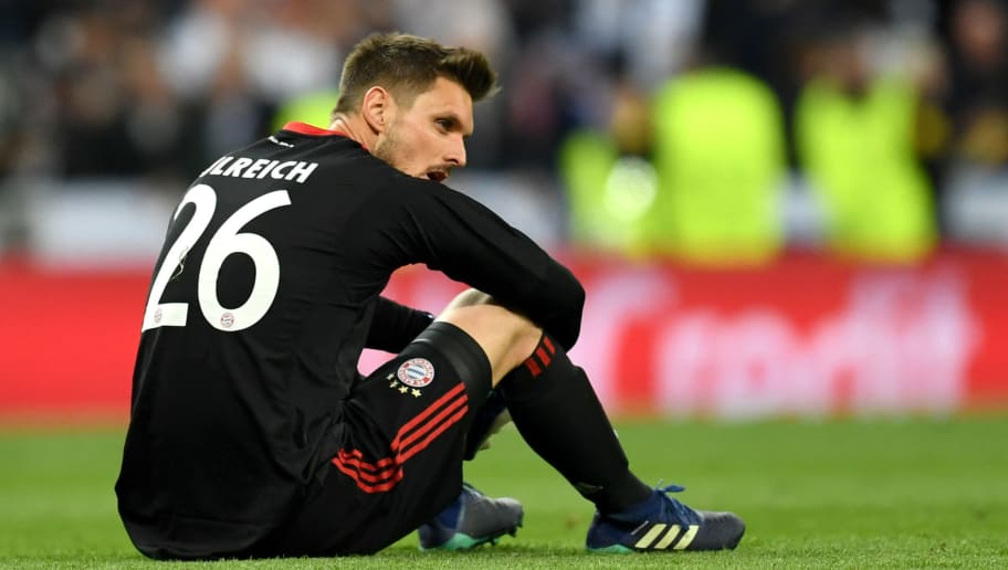 MADRID, SPAIN - MAY 01:  Sven Ulreich of Bayern Muenchen looks dejected as they fail to reach the final after the UEFA Champions League Semi Final Second Leg match between Real Madrid and Bayern Muenchen at the Bernabeu on May 1, 2018 in Madrid, Spain.  (Photo by David Ramos/Getty Images)
