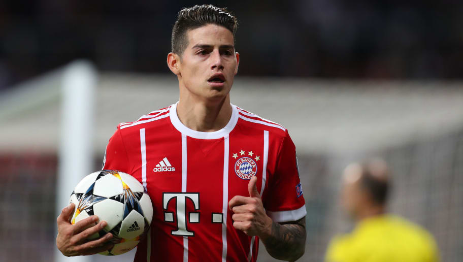 MADRID, SPAIN - MAY 01: James Rodriguez of Bayern Munich during the UEFA Champions League Semi Final Second Leg match between Real Madrid and Bayern Muenchen at the Bernabeu on May 1, 2018 in Madrid, Spain. (Photo by Catherine Ivill/Getty Images)
