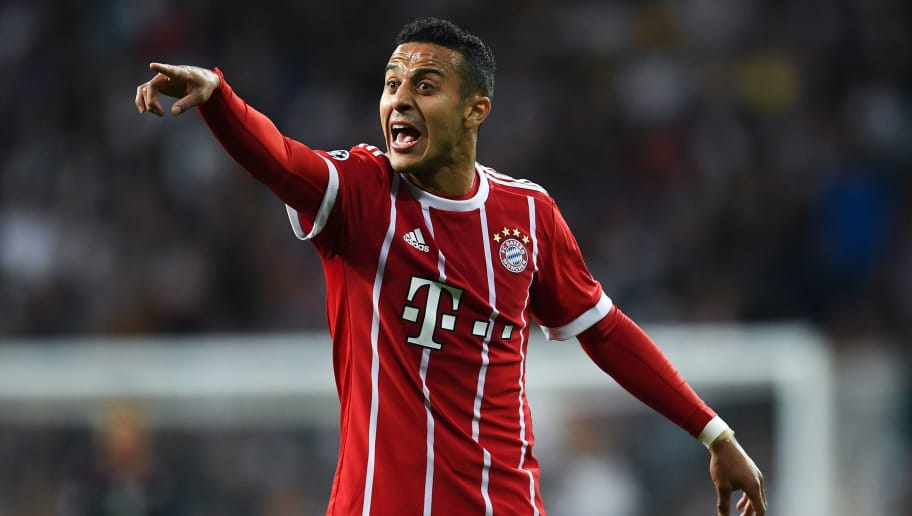 MADRID, SPAIN - MAY 01:  Thiago Alcantara of FC Bayern Muenchen reacts during the UEFA Champions League Semi Final Second Leg match between Real Madrid and Bayern Muenchen at the Bernabeu on May 1, 2018 in Madrid, Spain.  (Photo by David Ramos/Getty Images)