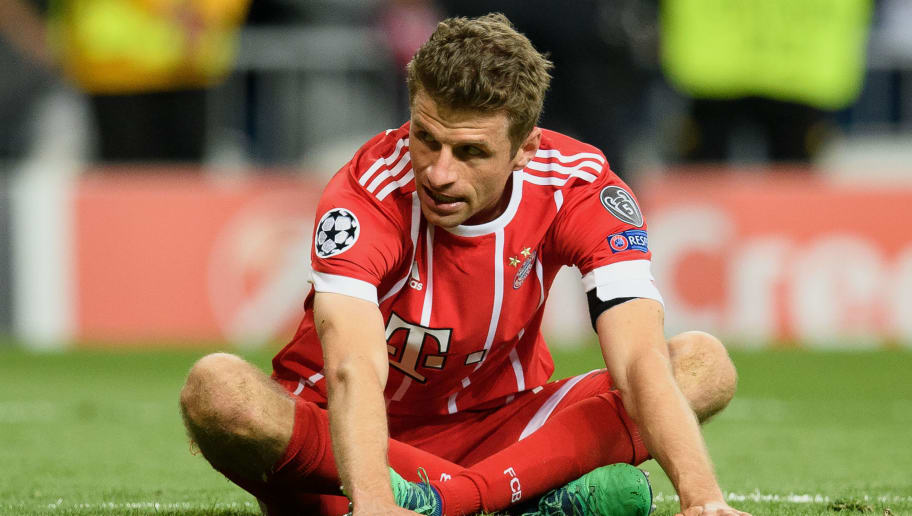 MADRID, SPAIN - MAY 01: Thomas Mueller of FC Bayern Muenchen  shows his disappointment after the UEFA Champions League Semi Final Second Leg match between Real Madrid and Bayern Muenchen at the Bernabeu on May 1, 2018 in Madrid, Spain. (Photo by Matthias Hangst/Bongarts/Getty Images)