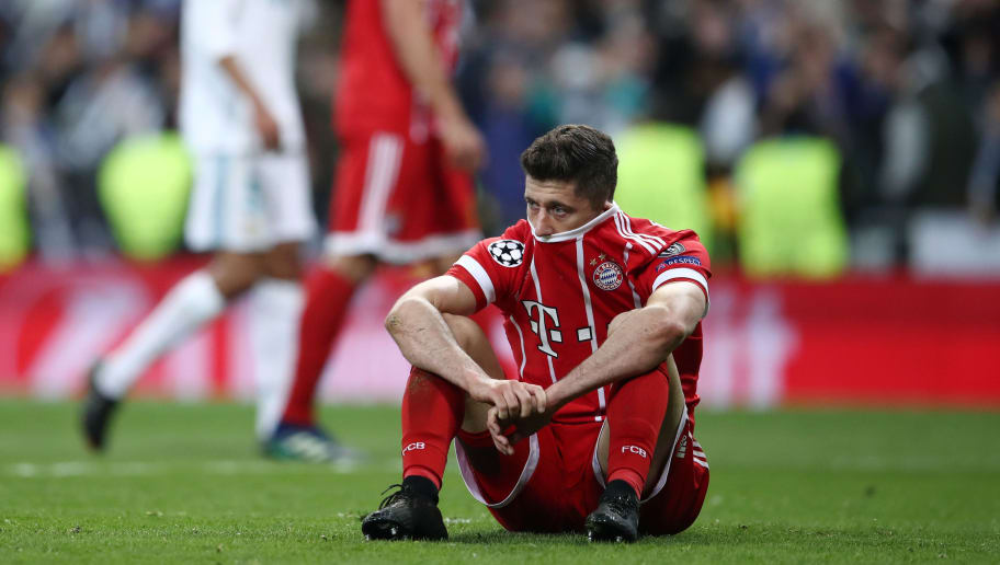 MADRID, SPAIN - MAY 01:  Robert Lewandowski of Bayern Muenchen looks dejected as they fail to reach the final after the UEFA Champions League Semi Final Second Leg match between Real Madrid and Bayern Muenchen at the Bernabeu on May 1, 2018 in Madrid, Spain.  (Photo by Lars Baron/Bongarts/Getty Images)