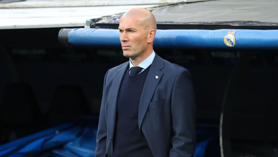 MADRID, SPAIN - MAY 01: Zinedine Zidane manager / head coach of Real Madrid during the UEFA Champions League Semi Final Second Leg match between Real Madrid and Bayern Muenchen at the Bernabeu on May 1, 2018 in Madrid, Spain. (Photo by Catherine Ivill/Getty Images)
