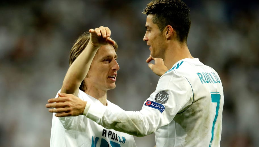 MADRID, SPAIN - MAY 1: (L-R) Luka Modric of Real Madrid, Cristiano Ronaldo of Real Madrid celebrates the victory  during the UEFA Champions League  match between Real Madrid v Bayern Munchen at the Santiago Bernabeu on May 1, 2018 in Madrid Spain (Photo by Eric Verhoeven/Soccrates/Getty Images)