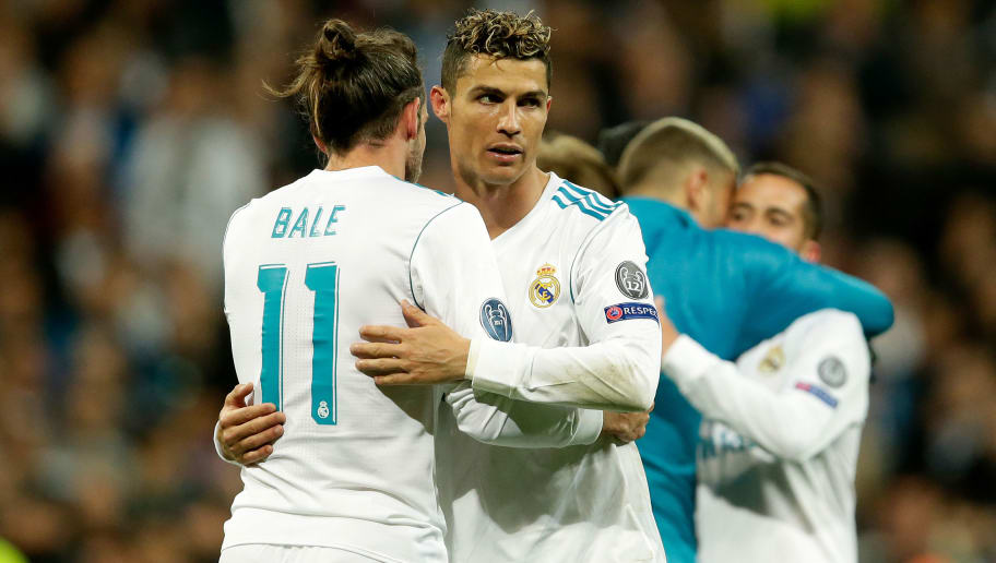 MADRID, SPAIN - MAY 1: (L-R) Gareth Bale of Real Madrid, Cristiano Ronaldo of Real Madrid celebrates the victory  during the UEFA Champions League  match between Real Madrid v Bayern Munchen at the Santiago Bernabeu on May 1, 2018 in Madrid Spain (Photo by Eric Verhoeven/Soccrates/Getty Images)
