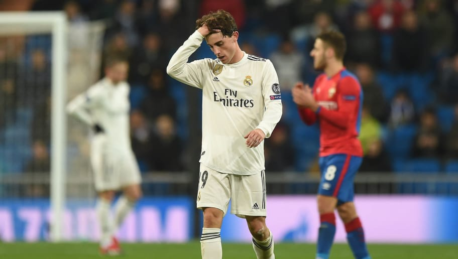 MADRID, SPAIN - DECEMBER 12: Alvaro Odriozola of Real Madrid  reacts after CSKA Moscow scored their 3rd goal during the UEFA Champions League Group G match between Real Madrid and CSKA Moscow at estadio Santiago Bernabeu on December 12, 2018 in Madrid, Spain. (Photo by Denis Doyle/Getty Images)