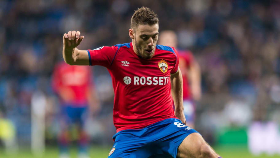 MADRID, SPAIN - DECEMBER 12: Nikola Vlasic of CSKA Moskva controls the ball during the UEFA Champions League Group G match between Real Madrid and CSKA Moscow at Bernabeu on December 12, 2018 in Madrid, Spain. (Photo by TF-Images/TF-Images via Getty Images)