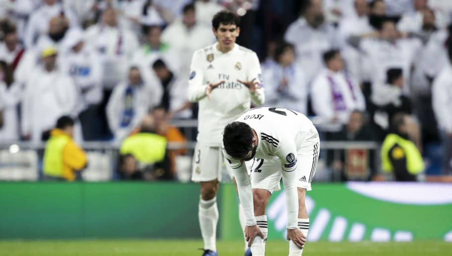MADRID, SPAIN - DECEMBER 12: Jesus Vallejo of Real Madrid, Isco of Real Madrid during the UEFA Champions League  match between Real Madrid v CSKA Moskou at the Santiago Bernabeu on December 12, 2018 in Madrid Spain (Photo by David S. Bustamante/Soccrates/Getty Images)