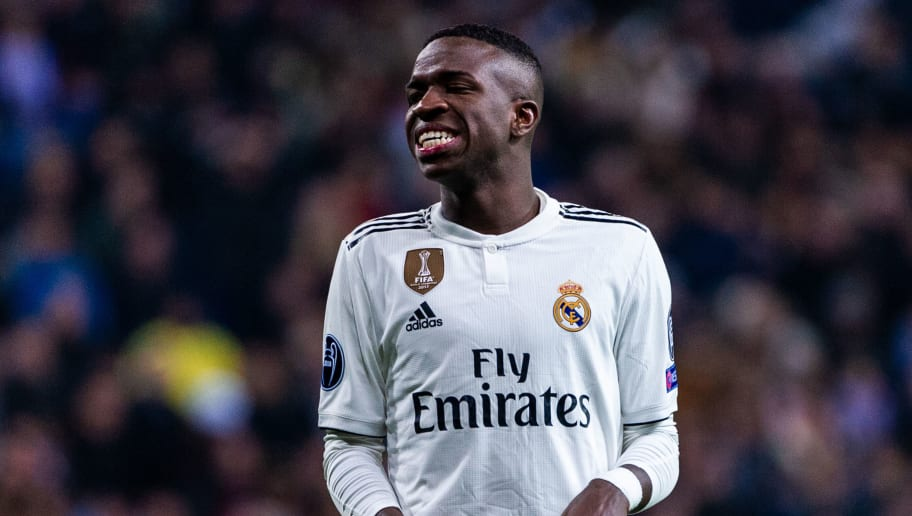 MADRID, SPAIN - DECEMBER 12: Vinicius Jr., #28 of Real Madrid in action during the Group G match of the UEFA Champions League between Real Madrid and CSKA Moskva at Santiago Bernabeu on December 12, 2018 in Madrid, Spain. (Photo by Sonia Canada/Getty Images)