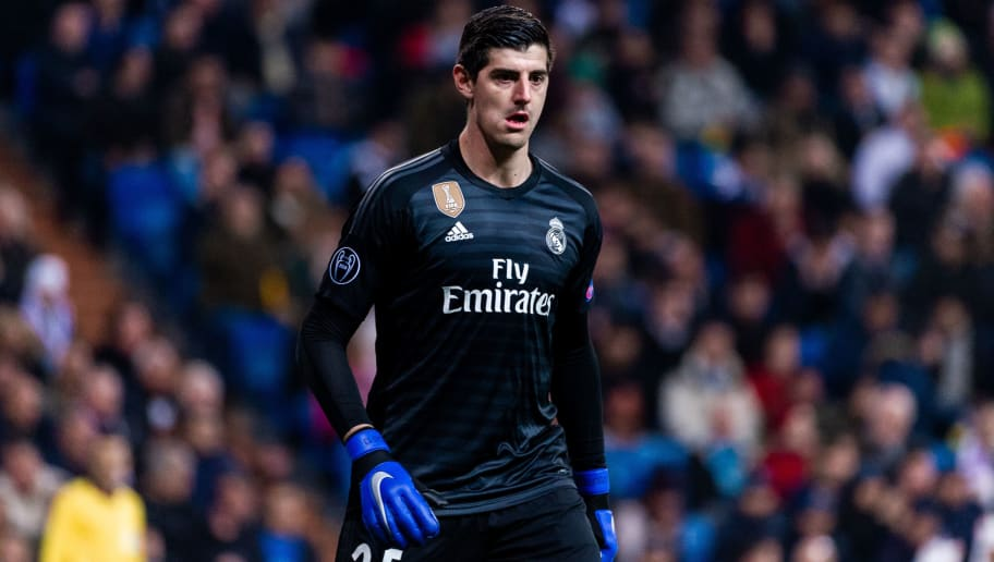 MADRID, SPAIN - DECEMBER 12: Courtois, #25 of Real Madrid in action during the Group G match of the UEFA Champions League between Real Madrid and CSKA Moskva at Santiago Bernabeu on December 12, 2018 in Madrid, Spain. (Photo by Sonia Canada/Getty Images)
