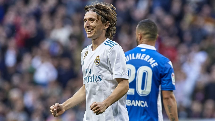MADRID, SPAIN - JANUARY 21:  Luka Modric of Real Madrid celebrates after scoring his side's fourth goal during the La Liga match between Real Madrid and Deportivo de La Coruna at Estadio Santiago Bernabeu on January 21, 2018 in Madrid, Spain.  (Photo by fotopress/Getty Images)