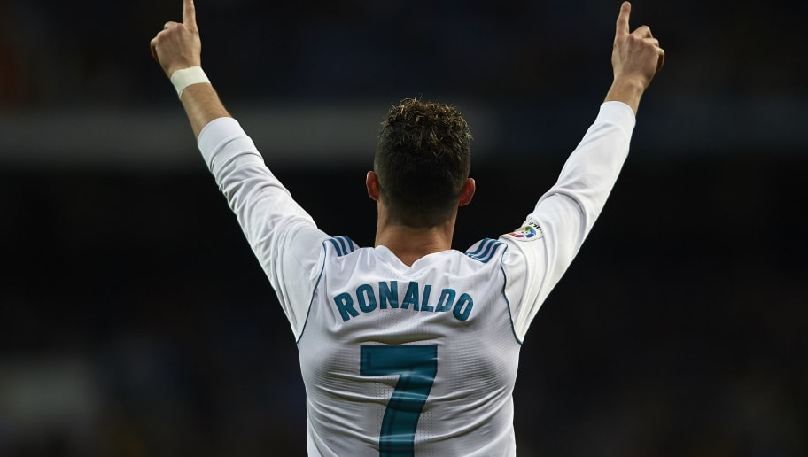 MADRID, SPAIN - MARCH 18:  Cristiano Ronaldo of Real Madrid celebrates scoring his team's first goal during the La Liga match between Real Madrid and Girona at Estadio Santiago Bernabeu on March 18, 2018 in Madrid, Spain.  (Photo by Quality Sport Images/Getty Images)