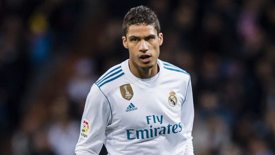 MADRID, SPAIN - MARCH 18: Raphael Varane of Real Madrid in action during the La Liga 2017-18 match between Real Madrid and Girona FC at Estadio Santiago Bernabéu  on March 18 2018 in Madrid, Spain. (Photo by Power Sport Images/Getty Images)