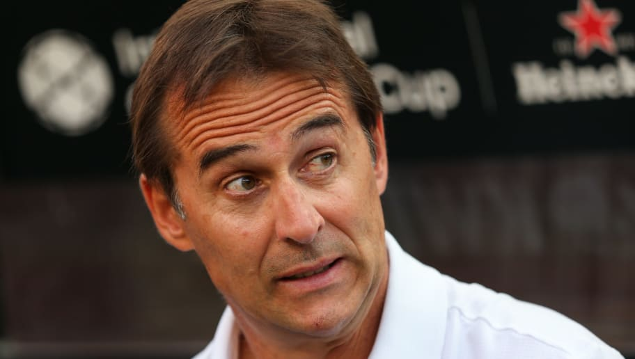 LANDOVER, MD - AUGUST 04: Julen Lopetegui head coach / manager of Real Madrid during the International Champions Cup 2018 future between Real Madrid v Juventus at FedExField on August 4, 2018 in Landover, Maryland. (Photo by Robbie Jay Barratt - AMA/Getty Images)