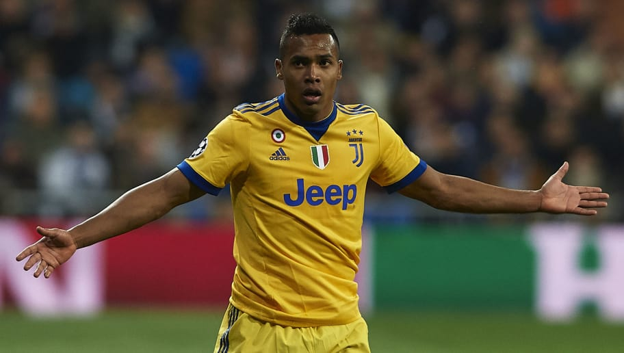 MADRID, SPAIN - APRIL 11:  Alex Sandro of Juventus reacts on the pitch during the UEFA Champions League Quarter Final Second Leg match between Real Madrid and Juventus at Estadio Santiago Bernabeu on April 11, 2018 in Madrid, Spain.  (Photo by Quality Sport Images/Getty Images)