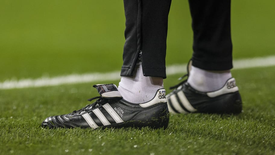 MADRID, SPAIN - JANUARY 24: Adidas Copa Mundial Shoes. La Copa del Rey 2017-18 match between Real Madrid vs CD Leganes at Estadio Santiago Bernabeu on 24 January 2018 in Madrid, Spain. (Photo by Power Sport Images/Getty Images)