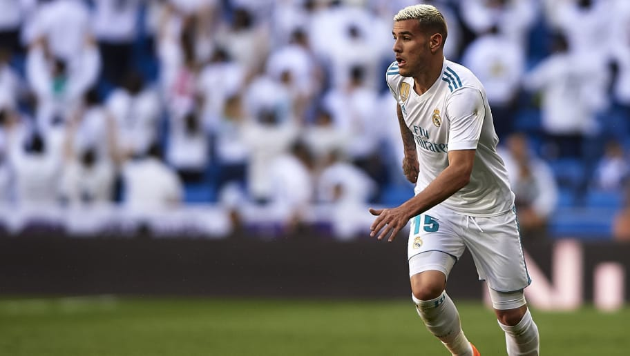 MADRID, SPAIN - APRIL 28:  Theo Hernandez of Real Madrid in action during the La Liga match between Real Madrid and Leganes at Estadio Santiago Bernabeu on April 28, 2018 in Madrid, Spain.  (Photo by Quality Sport Images/Getty Images)