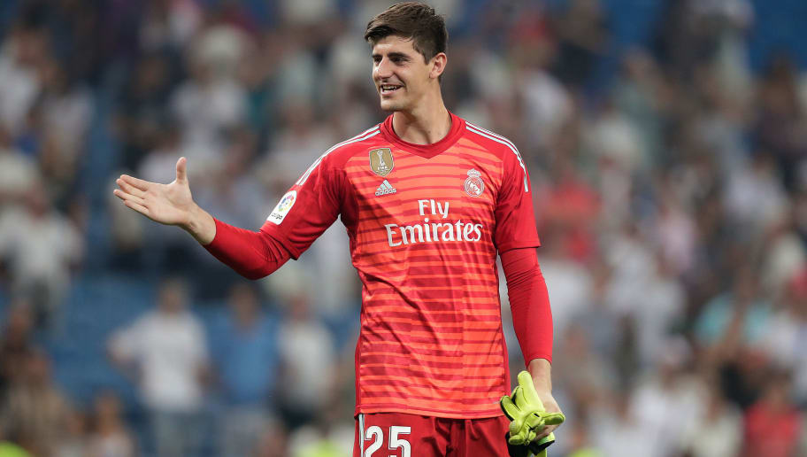 MADRID, SPAIN - SEPTEMBER 1: Thibaut Courtois of Real Madrid celebrates the victory  during the La Liga Santander  match between Real Madrid v Leganes at the Santiago Bernabeu on September 1, 2018 in Madrid Spain (Photo by David S. Bustamante/Soccrates/Getty Images)