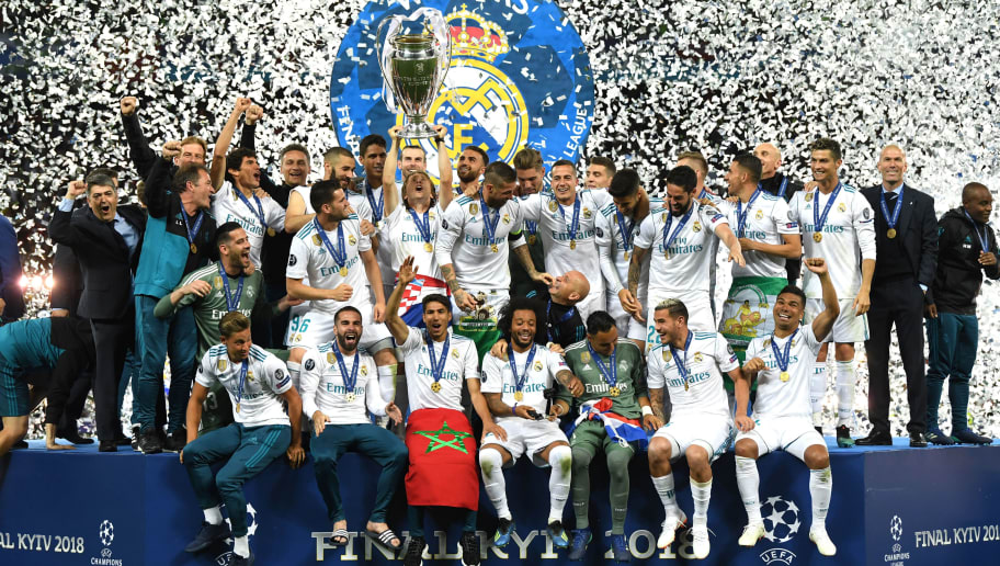 KIEV, UKRAINE - MAY 26:  Sergio Ramos of Real Madrid lifts The UEFA Champions League trophy following their sides victory in the UEFA Champions League Final between Real Madrid and Liverpool at NSC Olimpiyskiy Stadium on May 26, 2018 in Kiev, Ukraine.  (Photo by David Ramos/Getty Images)