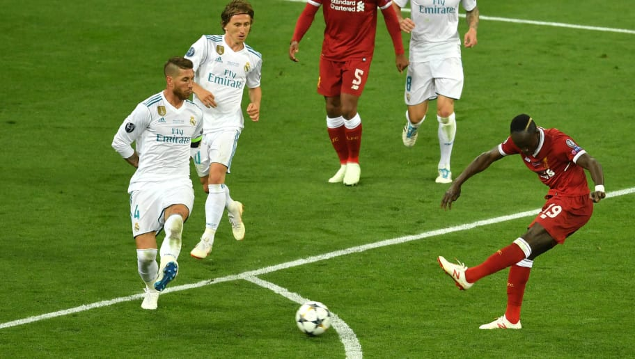KIEV, UKRAINE - MAY 26:  Sadio Mane of Liverpool shoots and misses during the UEFA Champions League Final between Real Madrid and Liverpool at NSC Olimpiyskiy Stadium on May 26, 2018 in Kiev, Ukraine.  (Photo by Mike Hewitt/Getty Images)