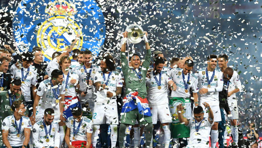 KIEV, UKRAINE - MAY 26:  Sergio Ramos of Real Madrid lifts The UEFA Champions League trophy following their sides victory in the UEFA Champions League Final between Real Madrid and Liverpool at NSC Olimpiyskiy Stadium on May 26, 2018 in Kiev, Ukraine.  (Photo by Shaun Botterill/Getty Images)
