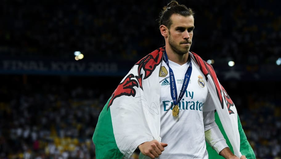 KIEV, UKRAINE - MAY 26:  Gareth Bale of Real Madrid CF leaves the pitch following his side victory in the UEFA Champions League final between Real Madrid and Liverpool on May 26, 2018 in Kiev, Ukraine.  (Photo by David Ramos/Getty Images)