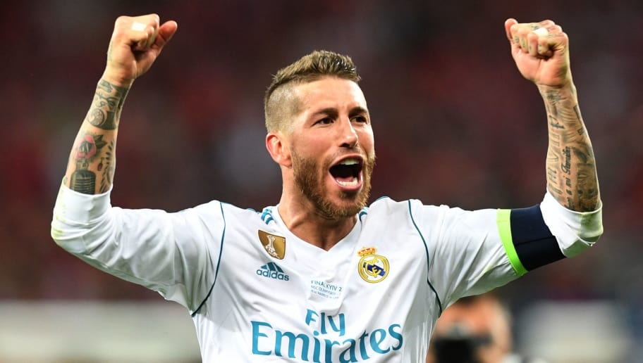 KIEV, UKRAINE - MAY 26:  Sergio Ramos of Real Madrid celebrates his side's victory following the UEFA Champions League Final between Real Madrid and Liverpool at NSC Olimpiyskiy Stadium on May 26, 2018 in Kiev, Ukraine.  (Photo by Michael Regan/Getty Images)