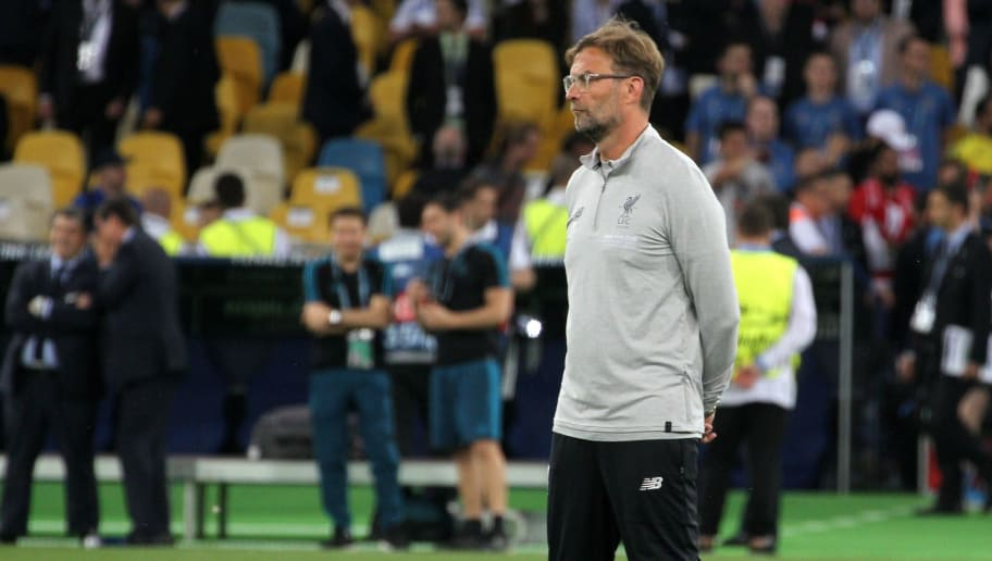 KIEV, UKRAINE - MAY 26: Jurgen Klopp, Manager of Liverpool during the UEFA Champions League final between Real Madrid and Liverpool at NSC Olimpiyskiy Stadium on May 26, 2018 in Kiev, Ukraine. (Photo by MB Media/Getty Images)